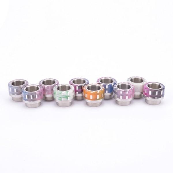 810er Drip Tip Silber gestreift Edelstahlanschluss
